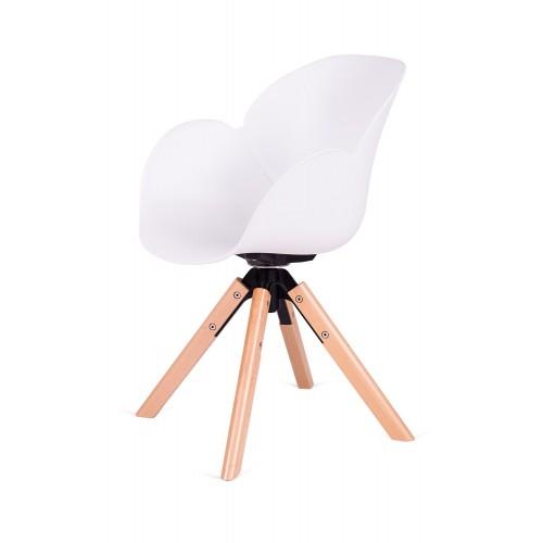 Fotel FLOWER 360 biały - PP/ podstawa drewniana, obrotowa