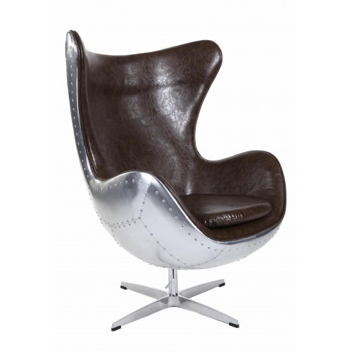 Fotel Jajo aluminium brąz PU