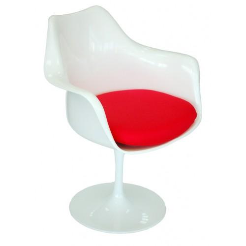 Krzesło Tulipan Arm białe/czerwona poduszka