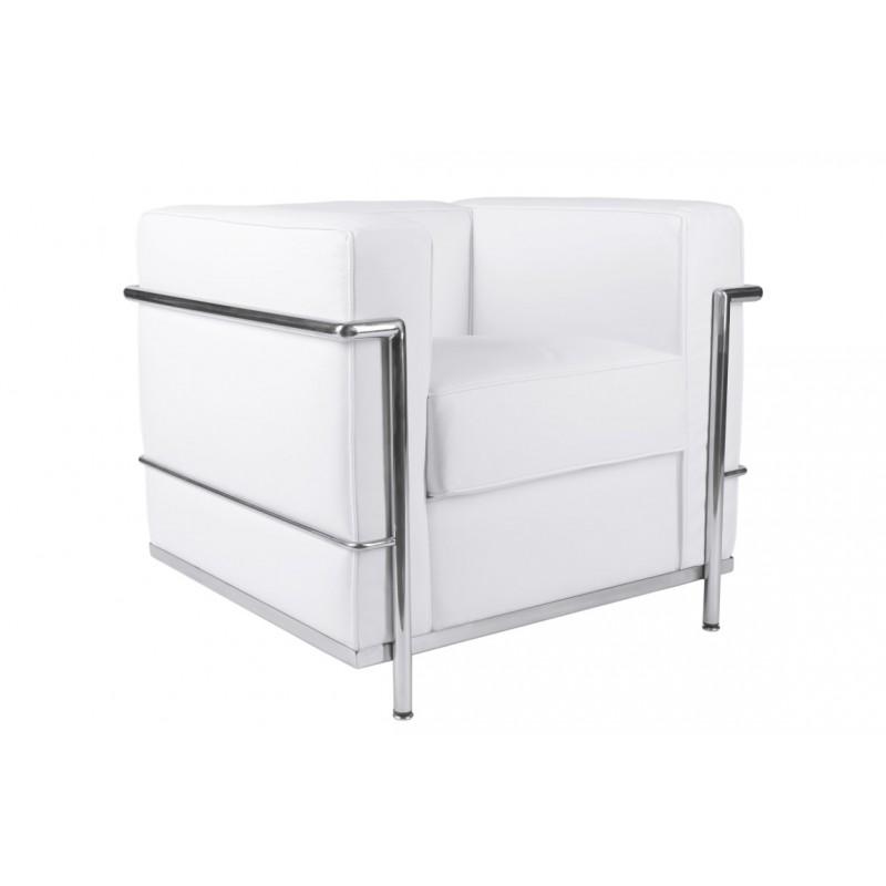Fotel Quadre biała skóra TP