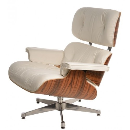 Fotel Boss biały/rosewood/srebrna baza