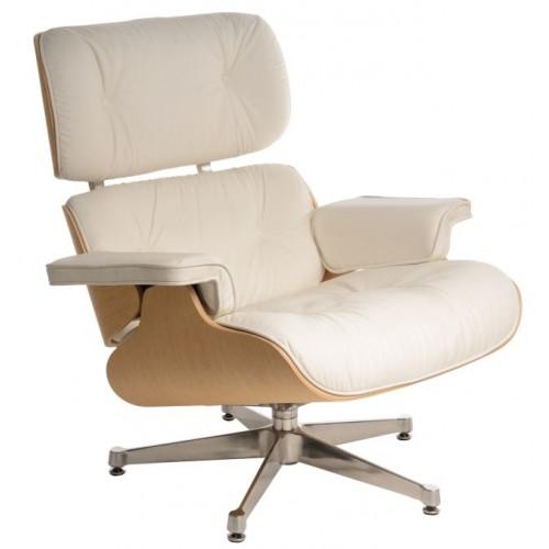 Fotel Boss biały/natural oak/srebrna baza