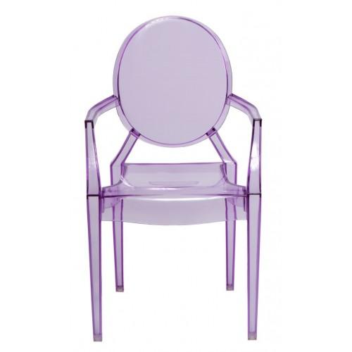 Krzesło dziecięce Dama Jr fioletowy transparentny