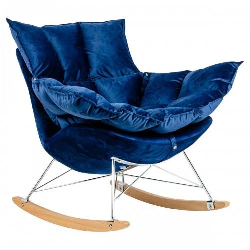 Fotel bujany SWING VELVET ciemny niebieski - welur, stal chromowana, drewno bukowa