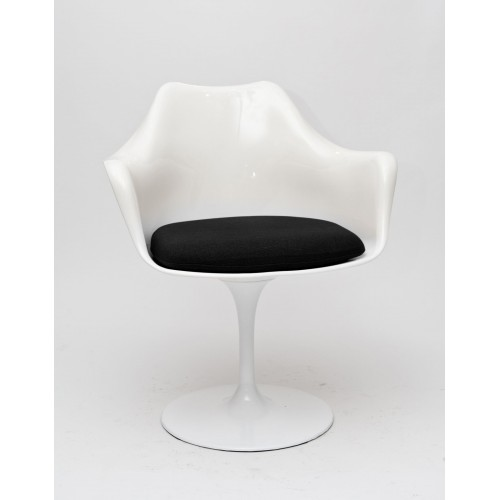 Krzesło Tulipan arm białe/czarna poduszka