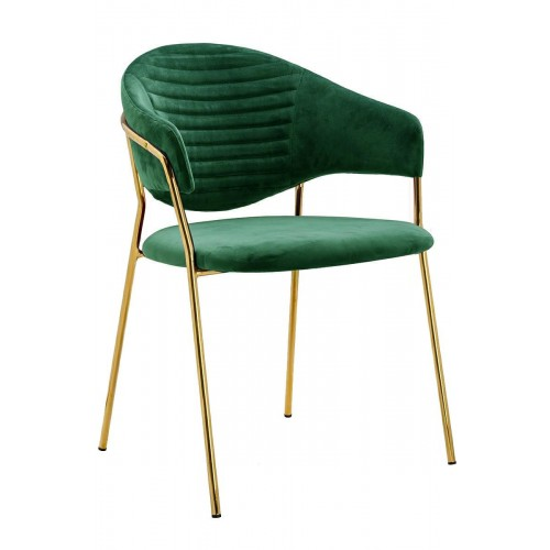 Fotel NAOMI zielony - welur, podstawa złota