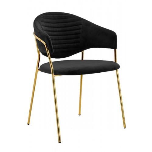 Fotel NAOMI czarny - welur, podstawa złota