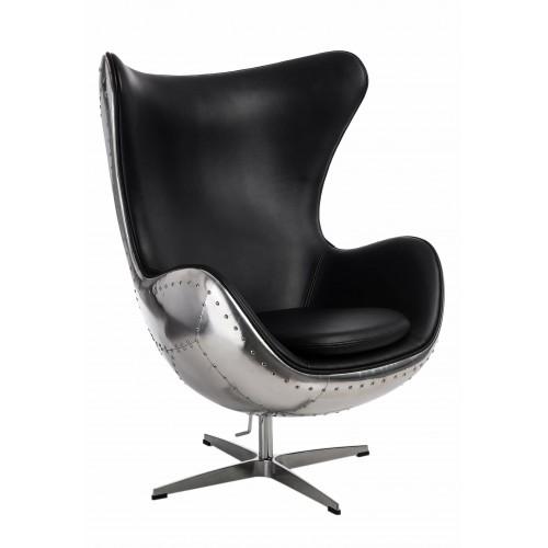 Fotel Jajo aluminium czarne PU