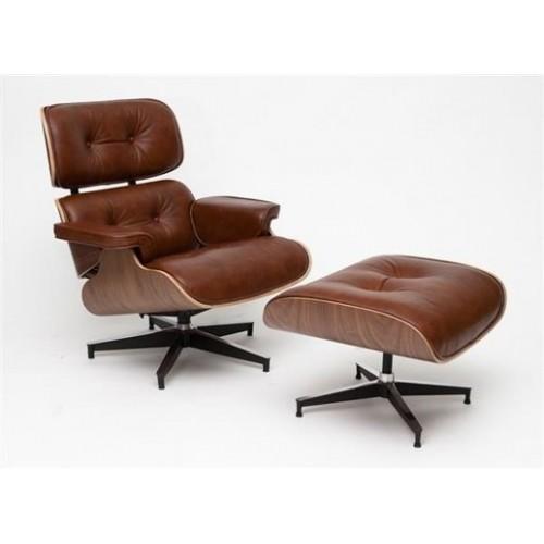 Fotel Vip z podnóżkiem brązowy/walnut