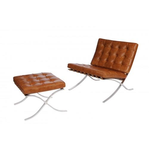 Fotel z podnóżkiem Barca 1 brąz j. vintage skóra