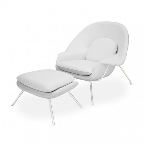 Fotel z podnóżkiem Swag biały