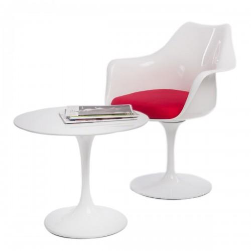 Stolik kawowy Fiber o60 biały włókno szklane