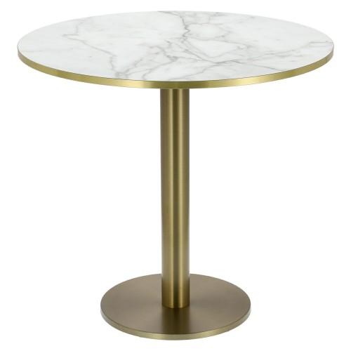 Stół okrągły Corby II 80cm HPL marmur/ złoty brzeg