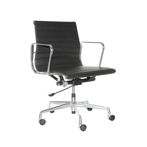 Fotel biurowy Lider czarna skóra,chrom