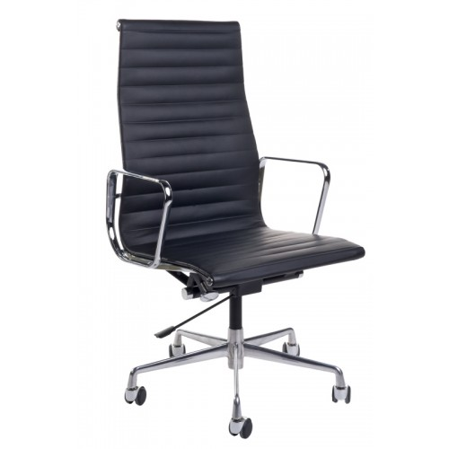 Fotel biurowy Prezes czarna skóra/chrom