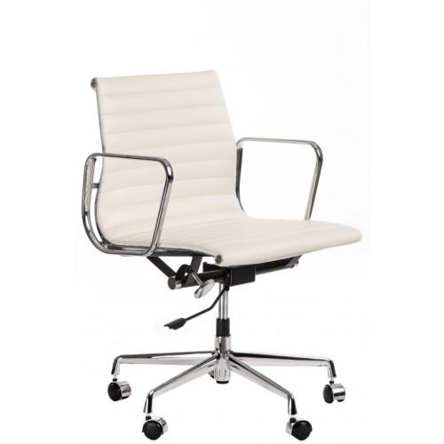 Fotel biurowy Lider biała skóra chrom