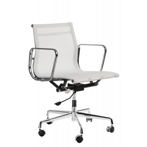 Fotel biurowy Lider biała siateczka-chrom