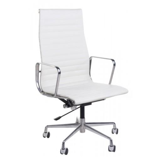 Fotel biurowy Prezes biała skóra/chrom