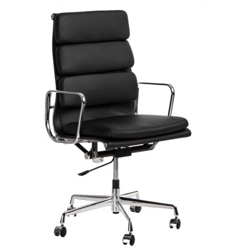 Fotel biurowy Gestor czarna skóra chrom