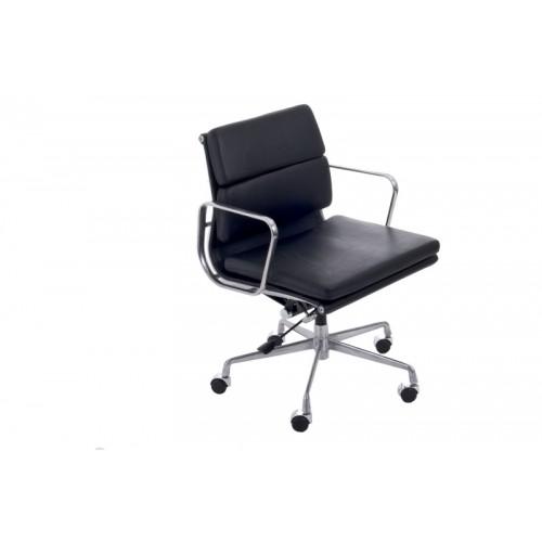Fotel biurowy King czarna skóra chrom