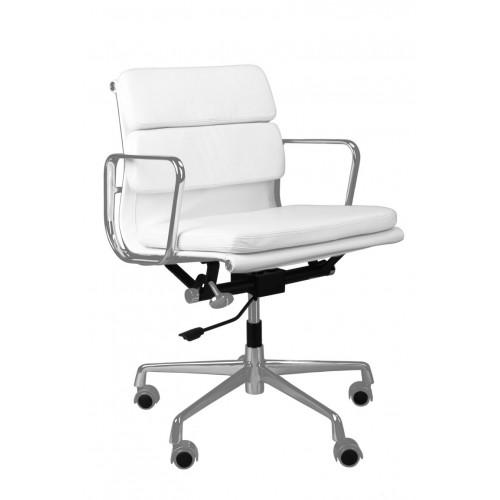 Fotel biurowy King biała skóra chrom