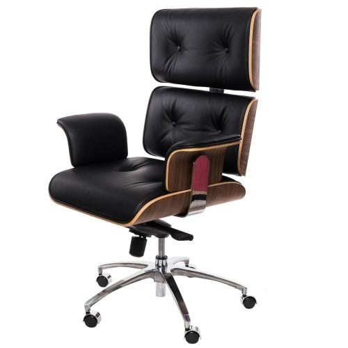 Fotel biurowy Boss czarna skóra,orzechowy fornir, chrom