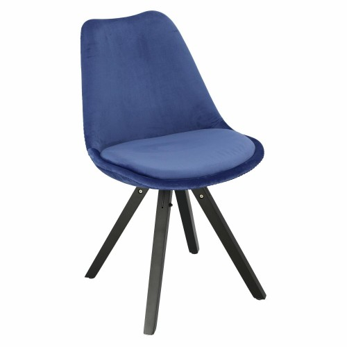 Krzesło Lord Star Square black Velvet niebieskie