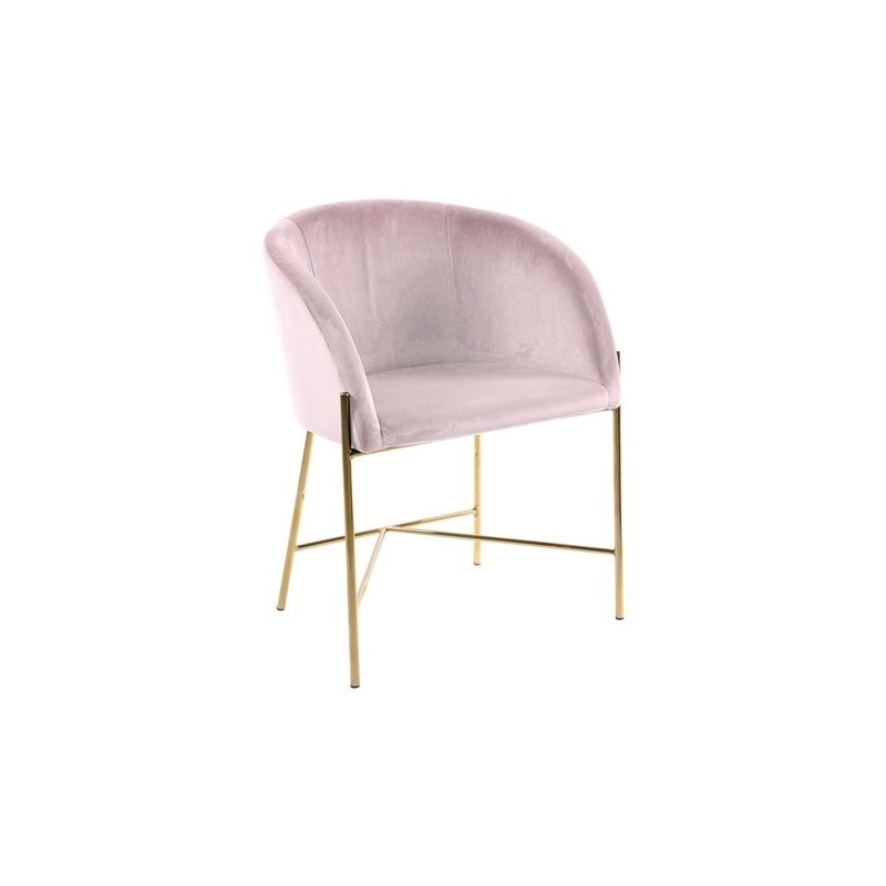 Fotel Nely różowy/złota podstawa
