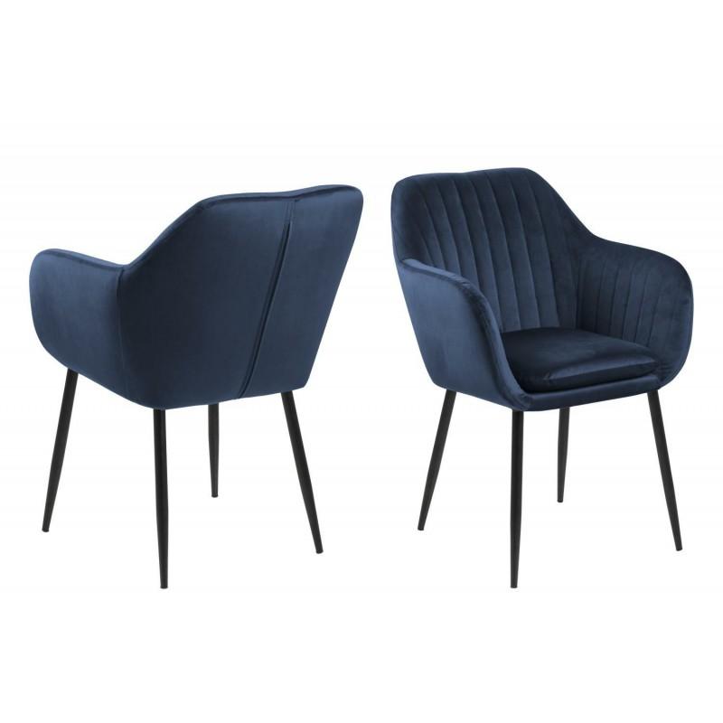 Krzesło Emilian Velvet deep blue/black