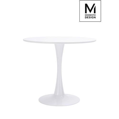 MODESTO stół TULIP FI 90 biały - MDF, podstawa metalowa