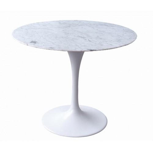 Stół TULIP MARBLE 90 CARARRA biały - blat okrągły marmurowy, metal