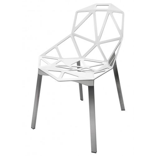 Krzesło SPLIT PREMIUM białe - aluminium, nogi srebrne