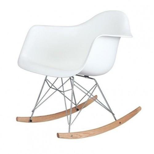 Fotel bujany VILD RAR biały - polipropylen, płozy bukowe
