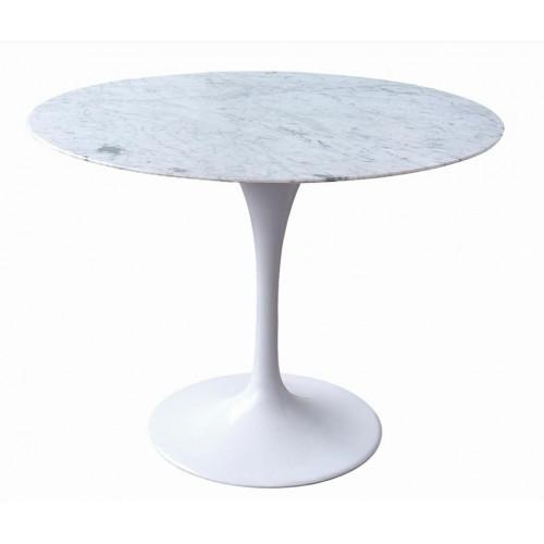 Stół TULIP MARBLE 100 CARARRA biały - blat okrągły marmurowy, metal