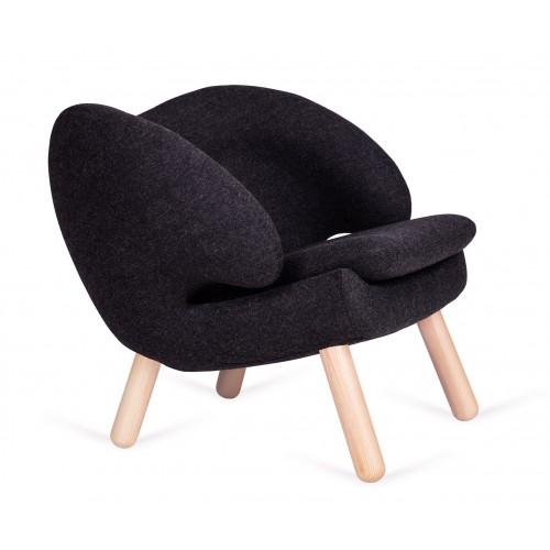 Fotel FLAMINGO.5 ciemny grafit - wełna, nogi bukowe
