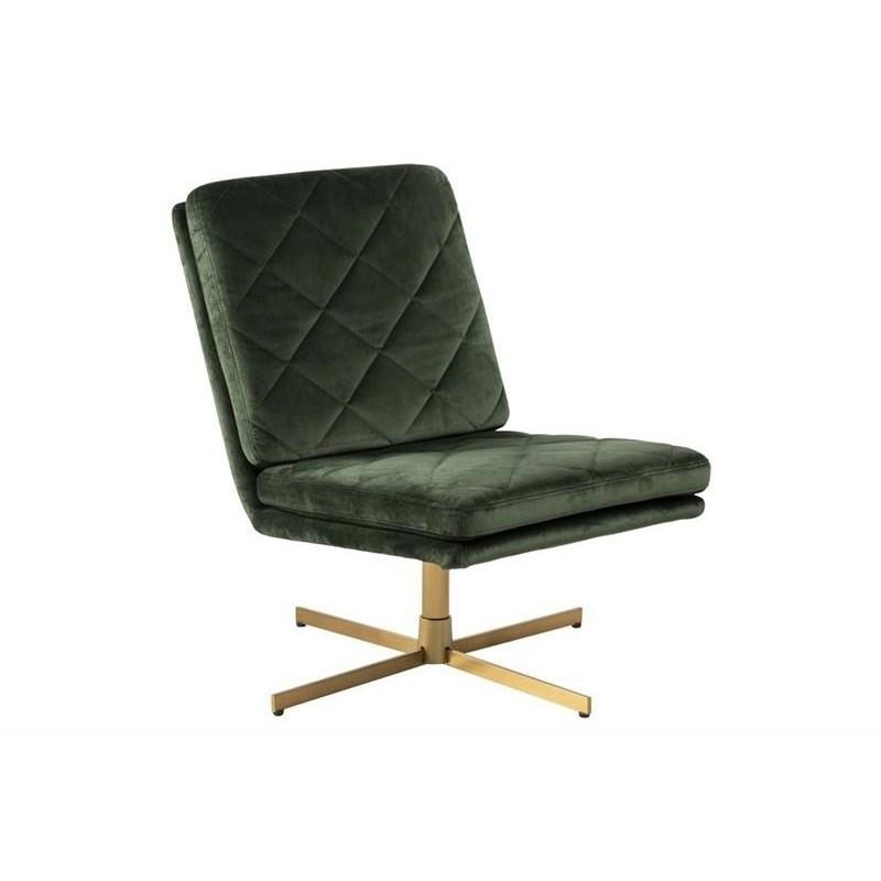 ACTONA fotel obrotowy CARRERA ciemny zielony - welur, złota podstawa
