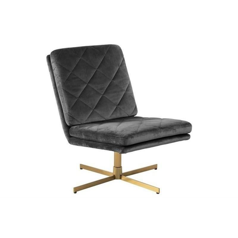 ACTONA fotel obrotowy CARRERA ciemny szary - welur, złota podstawa