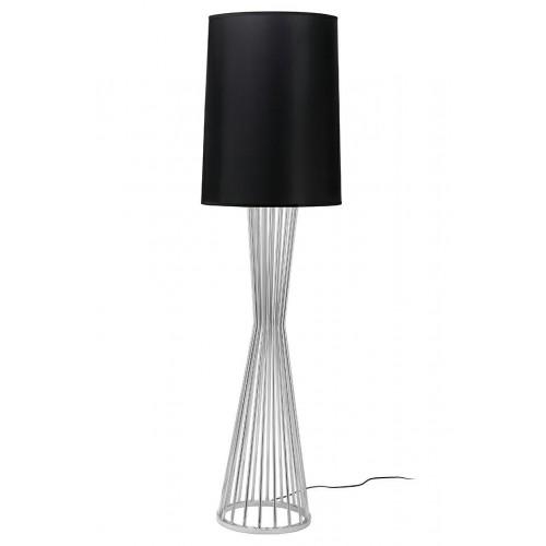 Lampa podłogowa HOLMES chrom z czarnym kloszem -  metal