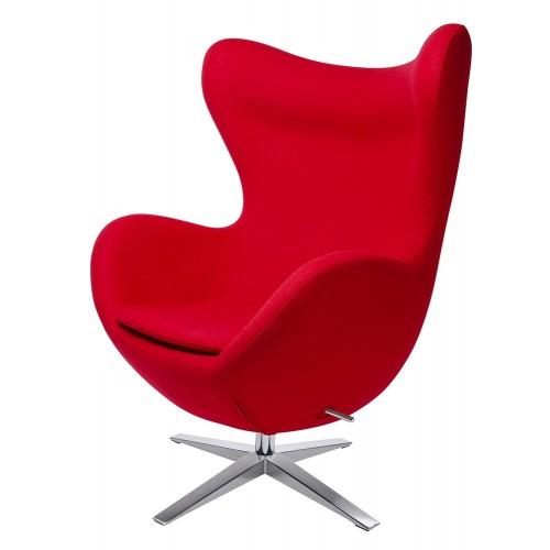 Fotel EGG SZEROKI czerwony.1 - wełna, podstawa stal