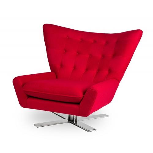 Fotel VINGS czerwony - wełna, podstawa chromowana