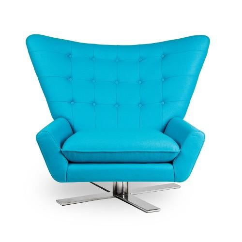 Fotel VINGS turkusowy - wełna, podstawa chromowana