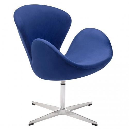 Fotel SWAN VELVET PREMIUM ciemny niebieski - welur, podstawa stal