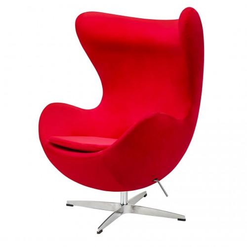 Fotel EGG CLASSIC VELVET czerwony - welur, podstawa aluminiowa