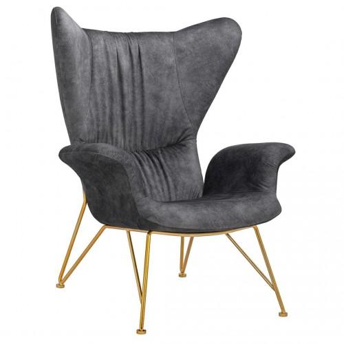 Fotel SHRIMP ALCANTARA ciemny szary  - alcantara, podstawa złota