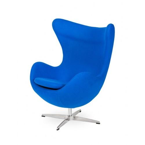 Fotel EGG CLASSIC chabrowy niebieski.33 - wełna, podstawa aluminiowa