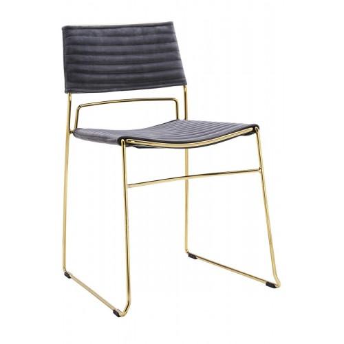 Krzesło JULIUS ciemny szary - welur, podstawa złota