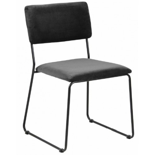 ACTONA krzesło CORNELIA antracytowe - welur, metal