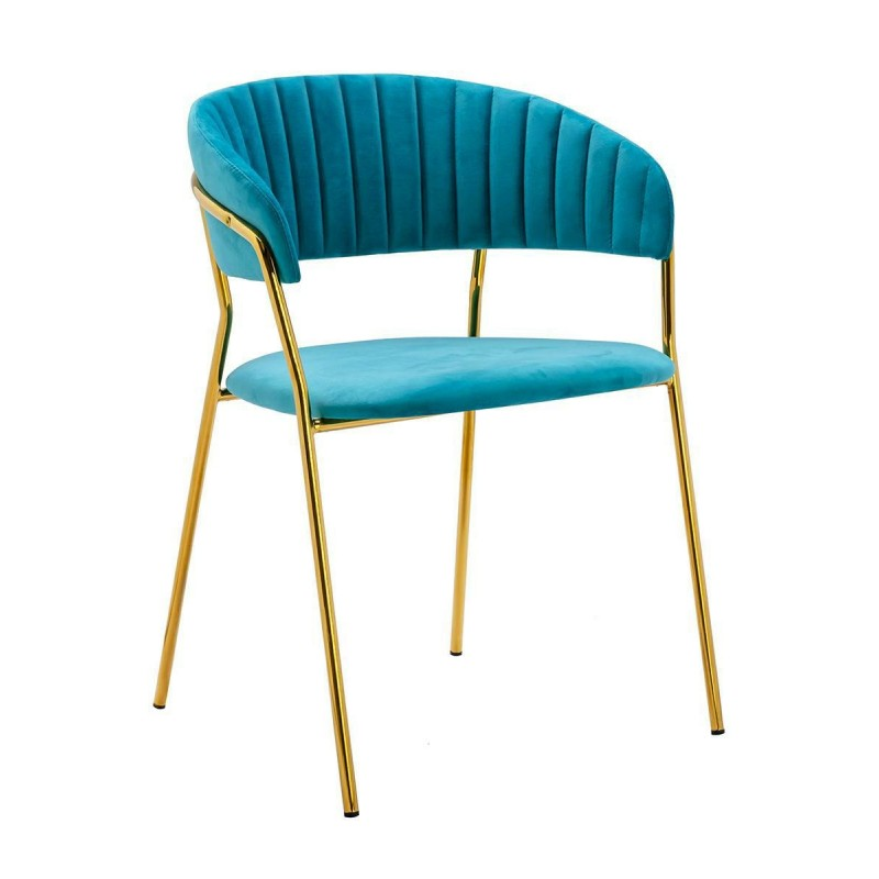 Krzesło MARGO turkusowe - welur, podstawa złota