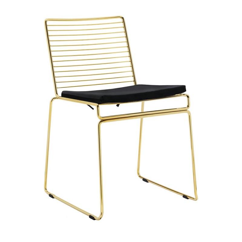 Krzesło ROD SOFT GOLD złote - welurowa poduszka, metal