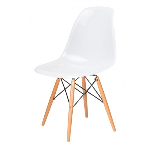 Krzesło DSW GLOSS białe - polipropylen, podstawa bukowa